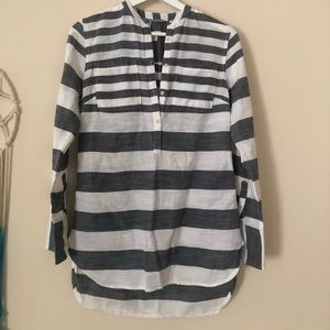 Merona striped charcoal and white blouse xs